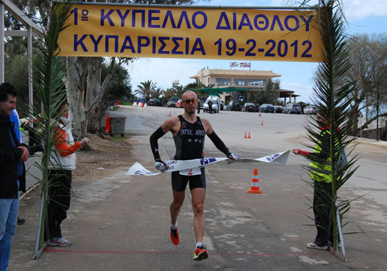 2012 02 19 duathlon kyparissia finish Grigoris Skoularikis