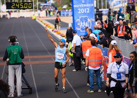 Grigoris Skoularikis Athens Classic Marathon 2012 finish